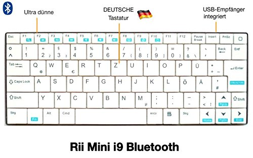 Rii Mini i9 Bluetooth (QWERTZ) - Ultra dünne Bluetooth Tastatur für Tablet, Smartphone, Mini PC, Computer, PlayStation - WEIß