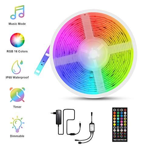 Tira LED Música, Fansteck LED Strip RGB 5050, Luces Led Multicolor 5M con 150 Leds 12V, 40 Botones...