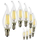 SunSeed 10x Lampadina E14 Filamento LED 4W Colpo di Vento 400 Lumen Calda 2700K