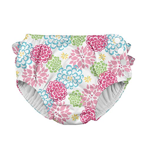 i play. Baby Girls' Ruffle Snap Reusable Swim Diaper,White Zinnia, 6 Months