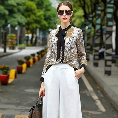 Beige Farbpalette (Mayihang Bluse Frauenhemd Frauen im Frühjahr und Sommer runder Kragen Langarm Dekoration,Farbpalette,L)