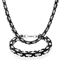 Bling Jewelry Stainless Steel Mens Two Tone Box Chain Bracelet Necklace Set