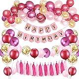 SPECOOL Decorazioni per Feste ,Rosa Buon Compleanno Banner con Palloncini metallici Palloncini Rosa in Lattice Coriandoli Forniture per Feste di Compleanno per Bambini Adolescente