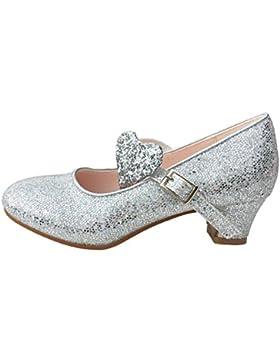 La Señorita Zapato Elsa Frozen corazón Flamenco Sevillanas de la princesa niña plata purpurina