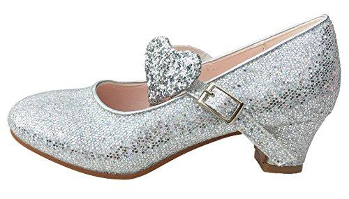 La Senorita Elsa Frozen scarpe Principessa scarpe scintillio ballerine con tacco argento (argento, Taglia 32 - 21 cm)