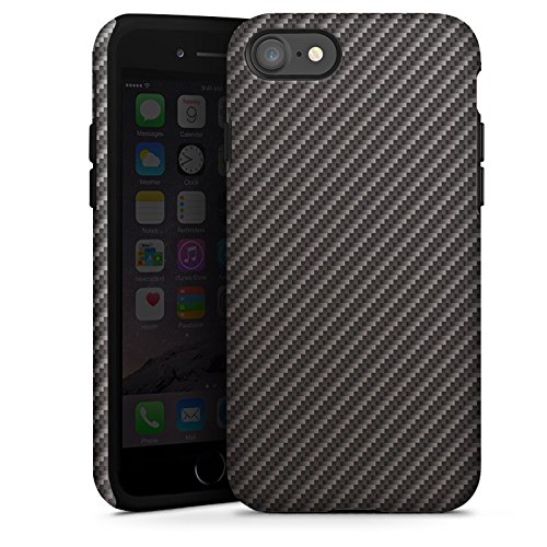Apple iPhone X Silikon Hülle Case Schutzhülle Carbon Look Schwarz Grau Metall Tough Case glänzend