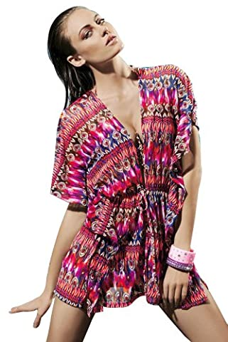 Tamari Abstract Kaftan Top Beach Cover Up For Women One Size (UK 8, 10, 12) (Pink)