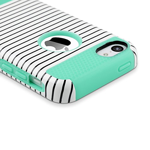 ULAK - iPhone 5C Cover, Case Cover duplice ibrido per iPhone 5C. Cover duro per iPhone 5C stampato Design PC+ Silicone ibrido impatto grande Difensore custodia Combo duro morbido Cases Covers (Blu) Mint + Stripes