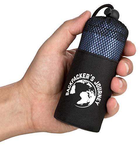 Backpacker's Journey ultrakleiner und ultraleichter (155g) Reiseschlafsack, Hüttenschlafsack leicht, dünn, Inlett aus Mikrofaser. Ideal für Backpacking, Hostels und Hütten (2.Blau)