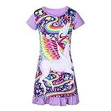 iiniim Kinder Mädchen Schlafanzug Einhorn Kurzarm Nachtkleid Pyjama Nachtwäsche Gr.86-116 Lavendel 86-92/18-24 Monate