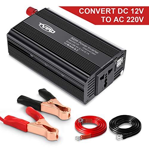 Spannungswandler 12v 230v 500W Tvird Wechselrichter 12v auf 230v, KFZ Inverter mit 2 USB Anschlüsse inkl. Universal Europa-Steckdosen Autobatterieclips für Autogerät/ iPad/ Laptop/ Kamera/ Handy