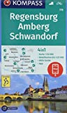 Regensburg, Amberg, Schwandorf: 4in1 Wanderkarte 1:50000 mit Aktiv Guide und Detailkarten inklusive Karte zur offline Verwendung in der KOMPASS-App. Fahrradfahren. (KOMPASS-Wanderkarten, Band 176) -