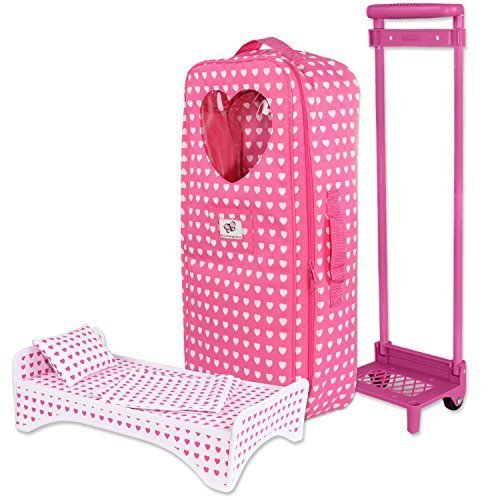 18 inch Doll Travel Carrier Trolley with Foldable Bed and Accessories Fits American Girl Doll by Pink Butterfly Closet