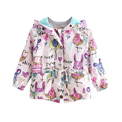 ESHOO Baby Mädchen-beiläufiger Oberbekleidung-Blumendruck-Druck-Jacken-mit Kapuze Mantel (Kapuze Pelz-trim Jacke)