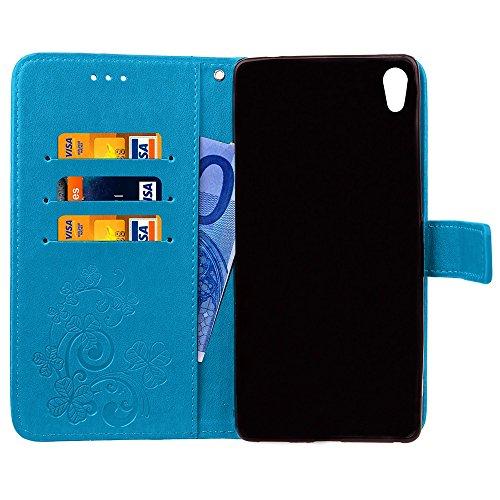EKINHUI Case Cover Double Magnetic Back Sucktion Retro Style PU Leder Flip Stand Case mit Kickstand und Wallet Beutel Funktion für Sony Xperia C6 ( Color : Rose ) Blue