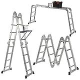 VonHaus Scala pieghevole multiuso 14-in-1 (15ft) 4.6m con 2 piani di lavoro e 1 accessorio prodotto secondo le Specifiche tecniche EN131 Parte 1 e 2