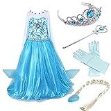 Timesun® Mädchen Prinzessin Schneeflocke Süßer Ausschnitt Kleid Kostüme mit Diadem, Handschuhen, Zauberstab und Zopf, Gr. 98/140 (110 ( Körpergröße 110cm ), #02 kleid mit 4 Zubehör)