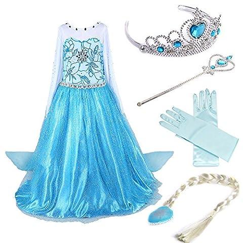 Timesun® Mädchen Prinzessin Schneeflocke Süßer Ausschnitt Kleid Kostüme mit Diadem, Handschuhen, Zauberstab und Zopf, Gr. 98/140 (130 ( Körpergröße 130cm ), #02 kleid mit 4 Zubehör)