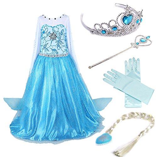 Timesun® Mädchen Prinzessin Schneeflocke Süßer Ausschnitt Kleid Kostüme mit Diadem, Handschuhen, Zauberstab und Zopf, Gr. 98/140 (120 ( Körpergröße 120cm ), #02 kleid mit 4 Zubehör)