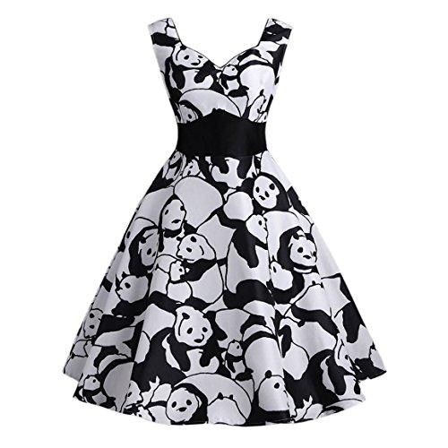 Moonuy Damen Ärmelloses Kleid Damen Vintage Panda Printed Riemchen 2018 Sommer Heißer Verkauf A-Linie Swing Camis Knielanges Retro Kleid (EU 38/Asien L, Schwarz)