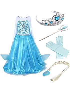 Timesun® Mädchen Prinzessin Schneeflocke Süßer Ausschnitt Kleid Kostüme Set aus Diadem, Handschuhen, Zauberstab...