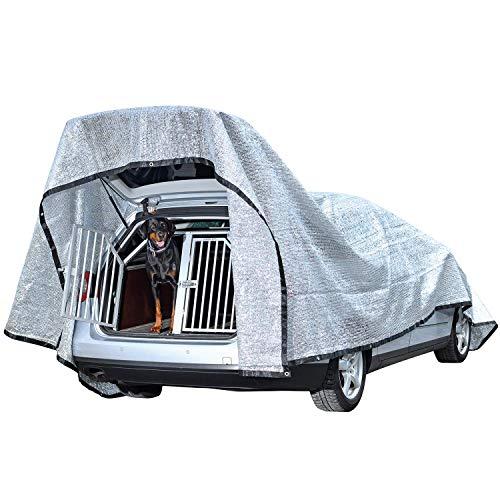 Rosi\'s Barf-Glück XL Schattennetz Hunde 600x400cm - Alunetz Auto 80{c1d6bd97253a7e5b97da5c268a77917f869a2b3258098abcf83eb377e9ed9944} UV Hitzeschutz Haube Zelt für Auto - Reduziert Hitze im Auto