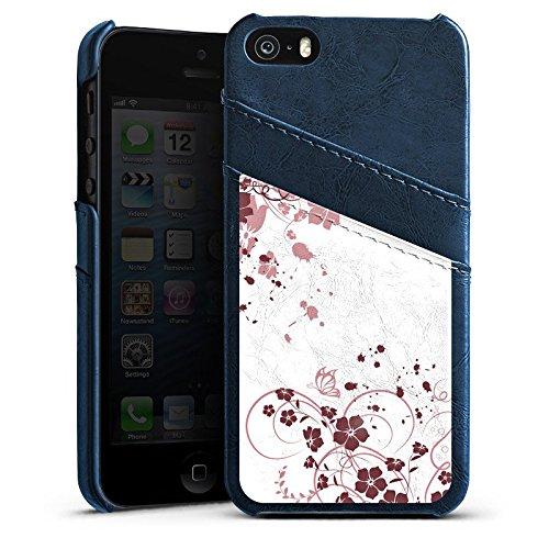 Apple iPhone 5 Housse Outdoor Étui militaire Coque Ornements Fleurs Fleurs Étui en cuir bleu marine