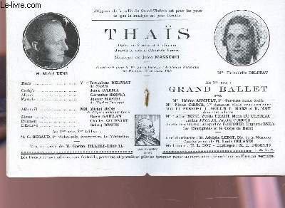PROGRAMME OFFICIEL DU GRAND THEATRE DE BORDEAUX / YHAS avec Michel DENS et Mele Bernadette DELPRAT - Grand ballet.