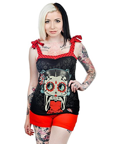 Too fast aNNABEL bOW tANK top-dODT bETTY bOOP Noir - Rouge