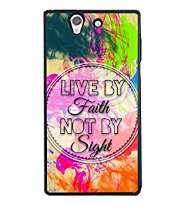 Fuson Premium 2D Back Case Cover Live by Faith With Brown Background Degined For Sony Xperia Z::Sony Xperia Z L36h