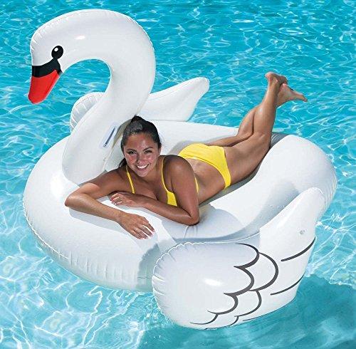 """""""WHITE SWAN""""XXL-Aufblasbarer BADE-SCHWAN mit Haltegriffen, Schwan Schwimmring / Luftmatratze, Maße: 185x157x123cm"""
