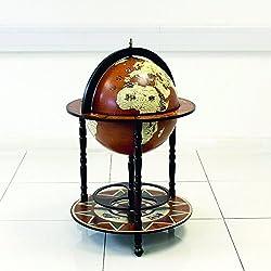 Gran globo terráqueo de bebidas armario Mini Bar con ruedas retro