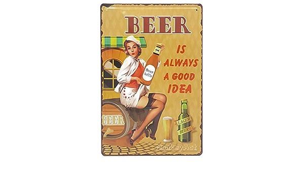 Alcool Pub publicit/é Boisson AVENUELAFAYETTE Cadre Tableau Plaque Murale m/étal Relief Pin up Bi/ère Fille Vintage r/étro 30 x 20 cm