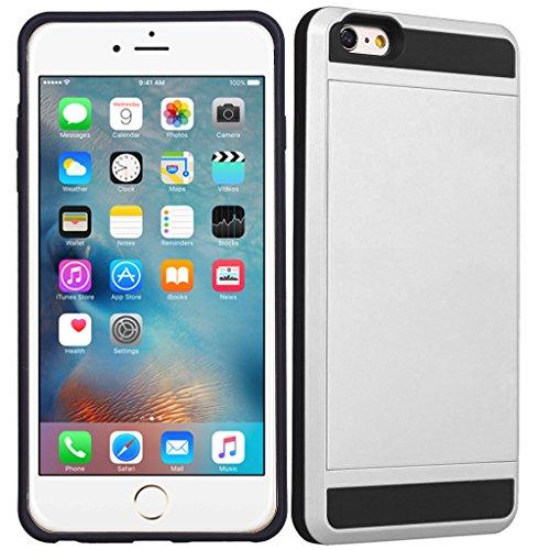 Apple iPhone 4S - Double Couche Slim Armure Hybrid Rigide Housse Étui avec Carte de crédit Carte Support + Gratuit Écran Protection Blanc
