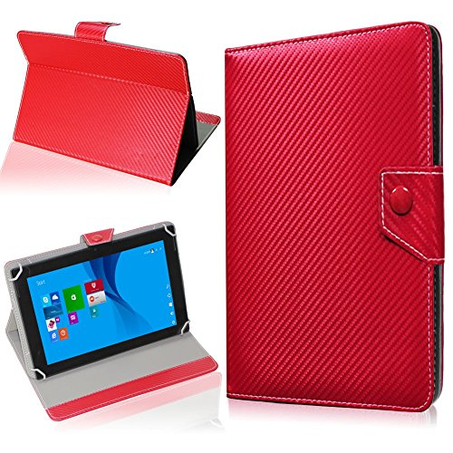 NAUC Tablet Hülle für CSL Panther Tab 10 Tasche Schutzhülle Cover Case Carbon, Farben:Rot