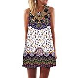 SANFASHION Sommer Elegante Damen Frauen Lose Vintage Sleeveless 3D Blumendruck Bohe Casual Täglichen Party Strand Urlaub Tank Short Mini Kleid