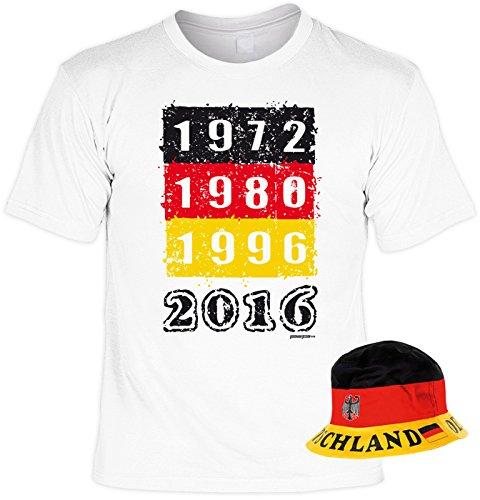 Fußball EM T-Shirt Set mit Hut, Fanartikel, Fanshirt, Trikot - 1972 1980 1996 2016
