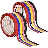 SENHAI. 10 cintas para gráficos, 0,3 cm  y 0,6 cm de anchura, cintas adhesivas para cuadrícula de pizarra, color negro, rojo, azul, rosa, amarillo claro