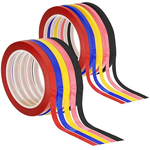 Senhai 10PCS Graphic Diagramm Tapes, 3mm & 6mm Breite Whiteboard Grid Art Tapes Selbstklebend Rasterband Diagramm Maskierung Tapes-Schwarz, Rot, Blau, Rosa, Hell Gelb
