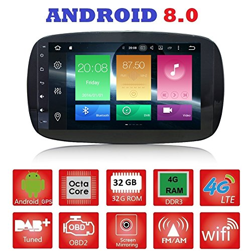 Android 8.0 GPS USB WLAN Bluetooth Autoradio Navi Smart Fortwo W453 2014, 2015, 2016, 2017