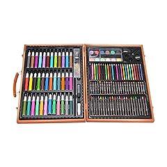 Idea Regalo - Hzjundasi 150 pezzi con pastelli ad olio, pennarelli, pastelli, matite, acquerelli, completo di custodia in legno, ideale per i principianti e gli artisti in erba
