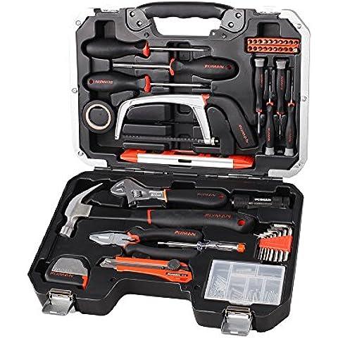Maleta/juego de herramientas (142 piezas), de color negro-plateado, de acero de cromo y vanadio, destornilladores, martillo, alicates aislantes