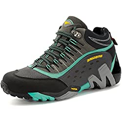GNEDIAE Zapatillas de Senderismo Mujer Big Size Leather Lace-Ups Trail Camping Sneaker Para Outdoor Walking Travel Zapatos Botas de Trabajo 35-40