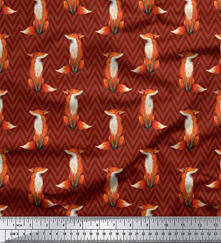 atin Stoff Chevron & Fuchs Tier Stoff drucken Meter 54 Zoll breit ()