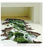 Hongrun 3D Stream Dreidimensionale Wandaufkleber Bodenaufkleber Badezimmer Dekoration Lotus Wasser Wohnkultur Wandaufkleber Dreidimensionale Malerei
