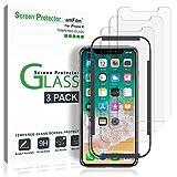 Verre Trempé iPhone X, amFilm Protecteur D'écran avec Plateau D'installation Facile pour Apple iPhone X / 10 (3 Pièces)