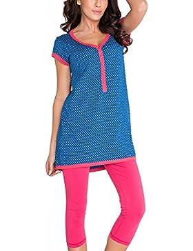 dn-nightwear PM.5037 Confortevole Pigiama Di Maternita In Splendidi Colori