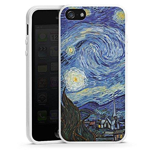 Apple iPhone 5s Housse Étui Protection Coque Vincent van Gogh La Nuit étoilée Art Housse en silicone blanc