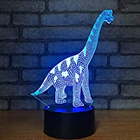 3D Visual Dinosaurs Led USB Desk Lamp Night Light 7 Colors with Telecontroller Acrylic Board Micro USB/3A Battery Children Christmas Birthday Present Gift