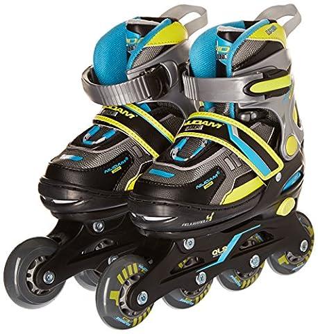 Schreuders Sport Nijdam Junior Semi-softboot Adjustable Inline Skates, Polyester - Black/Lime/Blue/Silver/Anthracite,